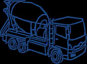 フレッシュコンクリートを運ぶアジテータートラック